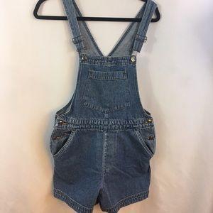 St Johns Bay Denim Overall Shorts Blue Jean Bib M